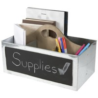 Office Supply Tote with Chalkboard Memo (Silver)