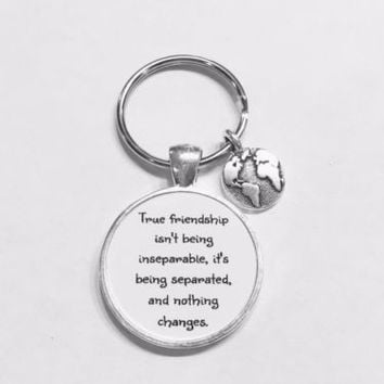 Best Friend True Friendship Long Distance Earth Planet Globe BFF Gift Keychain