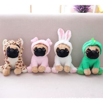 The SharPei turned dog doll plush toy hat dog doll simulation belldog Pug Stuffed animals Toys For Children gift