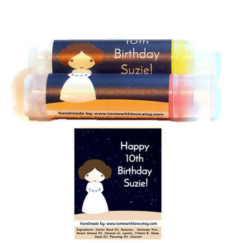 20 Star Wars Baby Shower Lip balm Favors -  Princess Leia party favor, star wars baby shower favor, bridal shower, geek theme wedding, A90