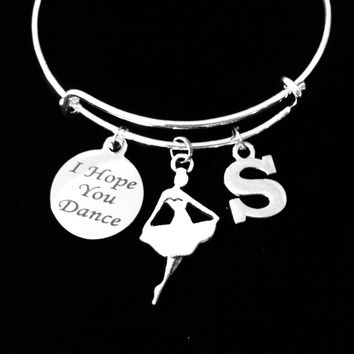 Personalized I Hope You Dance Expandable Charm Bracelet Silver Adjustable Wire Bangle Ballet Teacher Dancer Jewelry Gift
