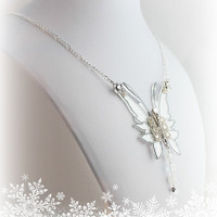 Frost Fairy Wings Necklace in White and Silver - Fairy Wings Necklace - Dana Design