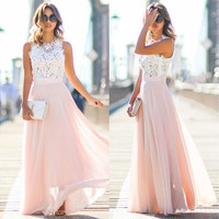Women Sexy Summer Lace Maxi Long Dress Evening Party Prom Dress Sundress Chiffon Dress [9305690951]