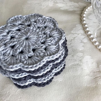 6 Gray Crochet Flower Coasters, Dark Gray Coasters, Light Grey Coasters