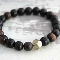 Mens Bracelet, Black Ebony Wood & Pyrite Bracelet Pyrite Jewelry, Mens Jewelry Wood Bracelet Simple Bracelet, Gift for Man