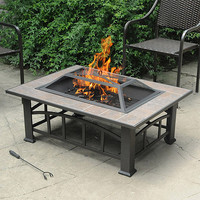 Walmart: Rectangular Tile Top Fire Pit, Brownish Bronze