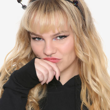 Blackheart Iridescent Flower Cat Ear Headband