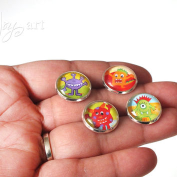 Little Monster Magnets, four 1cm round cabochon magnets