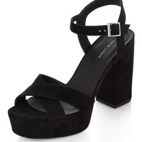 Black Cross Strap Flared Heels