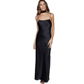 Smoves Summer Women Sexy Backless Scoop Neck Strappy Tank Maxi Long Silk Satin Slip Dress 2017 New