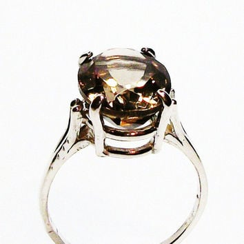 """Champagne quartz ring, brown ring, cocktail ring, solitaire ring,  s 7  """"New York Minute"""""""