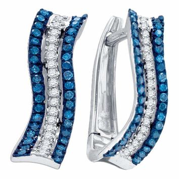 10kt White Gold Womens Round Blue Color Enhanced Diamond Striped Hoop Earrings 1-4 Cttw