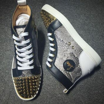 PEAPUX5 Cl Christian Louboutin Lou Spikes Style #2186 Sneakers Fashion Shoes