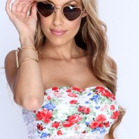 White Floral Print Strapless Bandeau Top