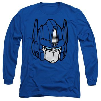 Transformers Long Sleeve T-Shirt Optimus Prime Face Royal Tee