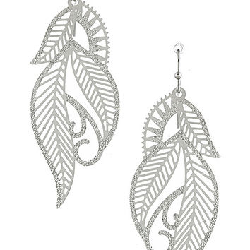 Lasercut Filigree Leaf Drop Earrings