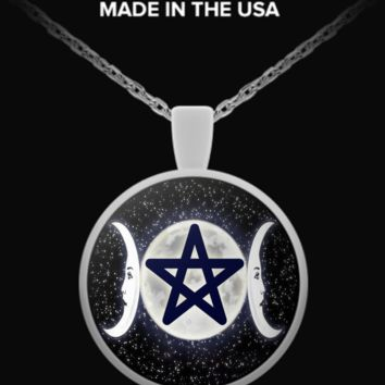 Triple Moon Pentacle Night Necklace triplemoonnecklacenight