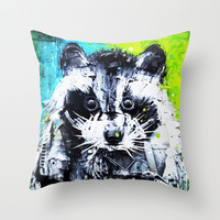 RACCOON Throw Pillow by Maioriz Home