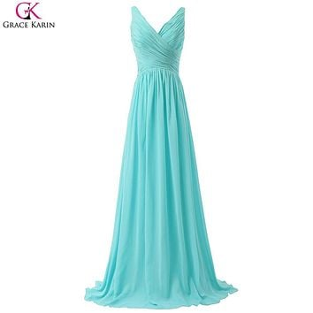 Grace Karin Aqua Blue Bridesmaid Dresses Blush Pink Red Purple Mint Green Cheap Long Bridesmaid Dresses Wedding Bridesmaid Dress