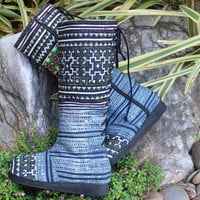 Womens Moccasin Boots in Hmong Batik Lace up Back Boho Boots - Viva