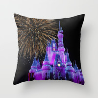 Disney Magic Kingdom Fireworks at Christmas - Cinderella Castle Throw Pillow by Hub Photos