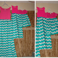 Chevron Mother daughter and baby matching set, women maxi dress,  size S-3XL