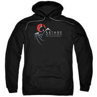 BATMAN THE ANIMATED SERIES/SILHOUETTE LOGO-ADULT PULL-OVER HOODIE-BLACK