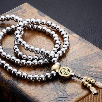 Personal Protection Self Defense Tool Buddha Beads Necklace Chain Jewelry Whip Outdoor Self-defense Tools
