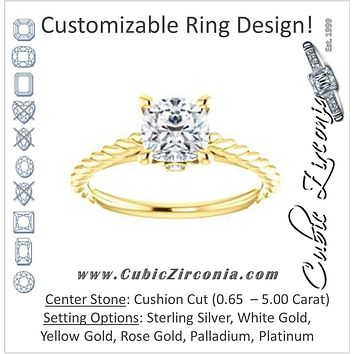 Cubic Zirconia Engagement Ring- The Lolita (Customizable Cushion Cut Style with Braided Metal Band and Round Bezel Peekaboo Accents)