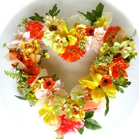 """Cemetery Floral Heart Shaped Memorial Remembrance Wreath - """"Beloved"""", Cemetery Flowers, Spring floral, Yellow floral wreath, Mothers Day"""