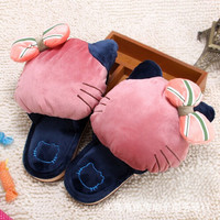 2017 New Hello Kitty Plush Warm Cartoon Indoor Slippers Anti-Slip At The End Of Home Floor Girlfriends Couple Present Gift