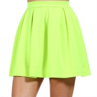 Pre-Order: Neon Yellow Back Zipper Skirt
