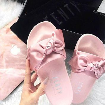 PUMA fenty rihanna silk Bow Slide Sandals Shoes sneakers spring (10-color) Light pink