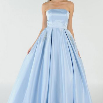 Blue Strapless A-line Prom Gown with Embellished Pockets