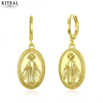 KITEAL Hot New Fashion Gold color  women earring Mermaid pattern Golden religious pattern orecchini Prom Accessories