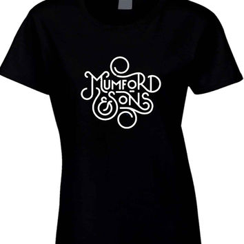 Mumford and Sons Title Art Black And White Womens T Shirt