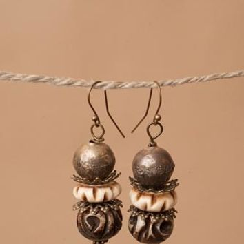 Wooden Carved Earrings