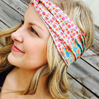 TURBAN HEADBAND BLUE/CREAM FLOWERS