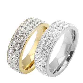 Korean 316L Stainless Steel Unisex Finger Rings With Bling Crystal  For Valentine's Day Gift Jewelry