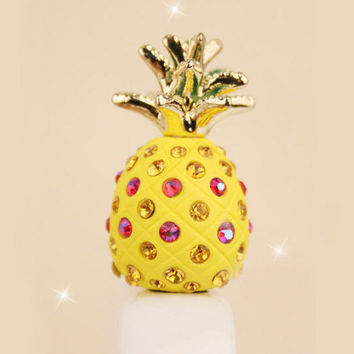 1PC Cute Fruit Crystal Pineapple Cell Phone Earphone Jack Anti dust Stopper for iPhone 5,5s,Samsung S3,S4, Nokia HTC  Smart Phone Charm