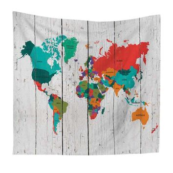 Colorful Painting World Map Tapestry