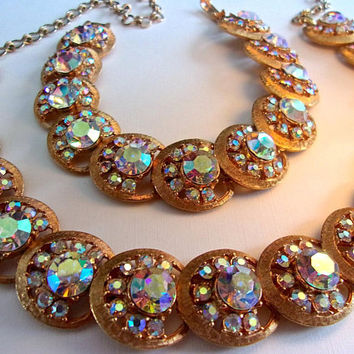 Rainbow Aurora Borealis CHAREL Necklace-Bracelet Set, Overlapping Disks, Gold Tone, Vintage