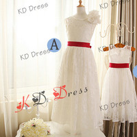ON SALE !!! Mother Daughter Matching Dresses Ivory Lace Flower Girl Dress Children Birthday Party Dress Kids Dress with Sash(Z1007)