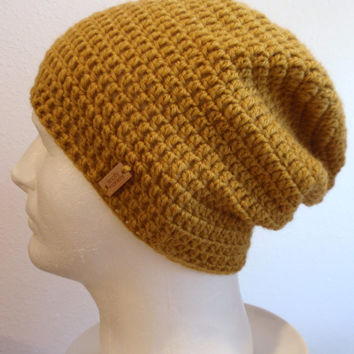 Slouchy Beanie Mustard Yellow Mens - Crochet Slouch Beanie Mens Mustard Beanie Hipster Hat - Gold Yellow Slouchy Beanie - Winter Apparel