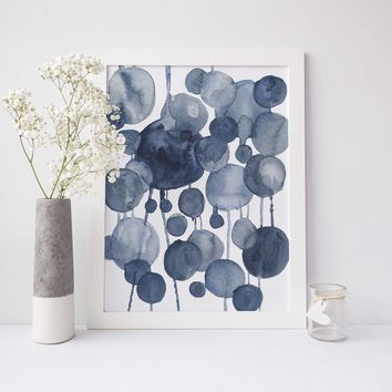 Modern Abstract Watercolor Blue Dots Art Print