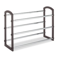 Expandable 3 Tier Shoe Rack In Faux Leather & Chrome