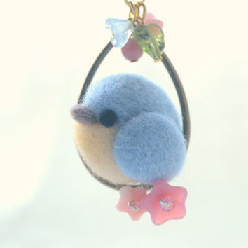 Bird necklace, handmade needle felt blue bird pendant, soft sculpture wool bird on flower hoop necklace, whimsical jewelry, gift under 25