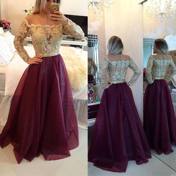 Long Sleeve Applique A-Line Prom Dresses