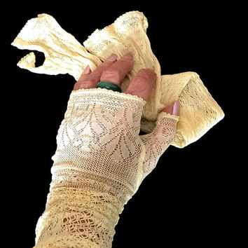Vintage Victorian Lace Gloves Light Yellow Delicate Lace Fingerless Elbow Length Antique Victorian Lace Gloves 1800s