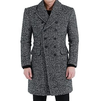 Herringbone wool coat men vintage largel ldouble breasted overcoat mens cashmere coat casaco masculino inverno grey big size 5XL